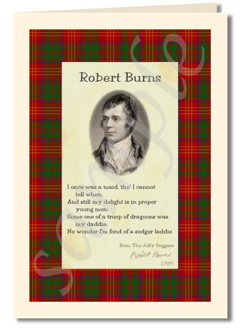 Robert Burns - extract from the jolly beggars greeting card