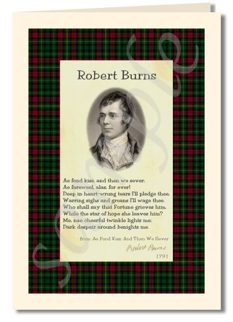 Robert Burns - extract from ae fond kiss greeting card