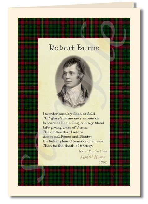 Robert Burns - extract from  I Murder Hate greeting card