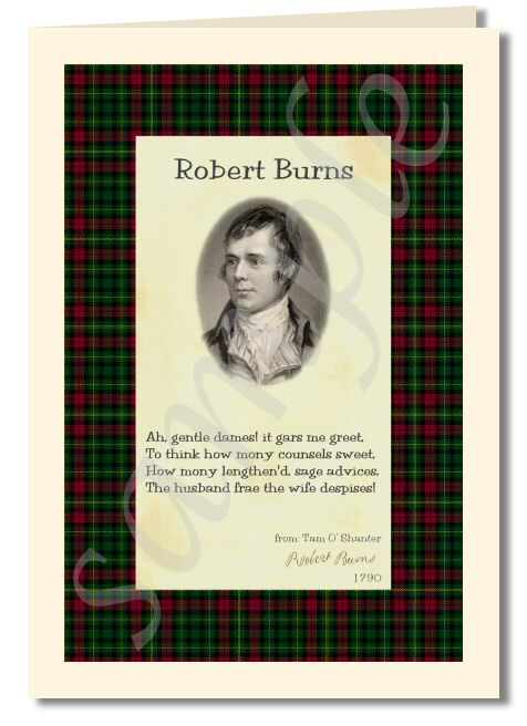 Robert Burns - extract from My love she's but a lassie yet greeting card